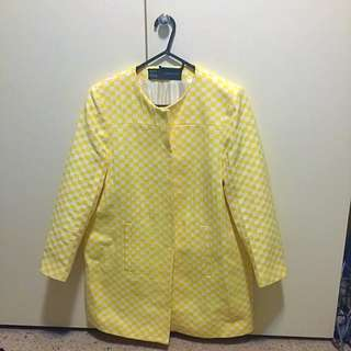 Zara Basics Yellow Check Coat