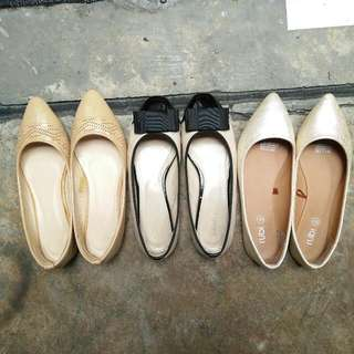 Ladies Flats - Gold/Nude