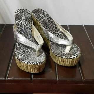 豹紋厚底夾腳鞋