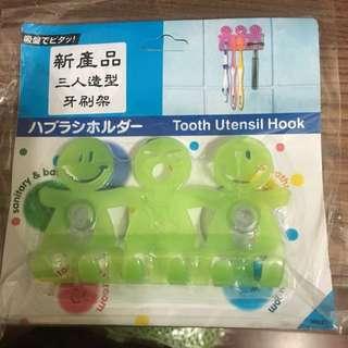 三人造型牙刷架