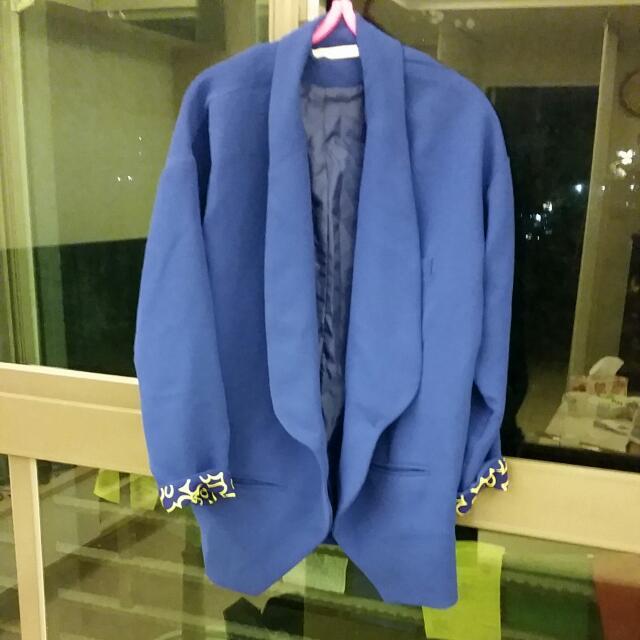 正韓寶藍雪坊混西裝布料外套