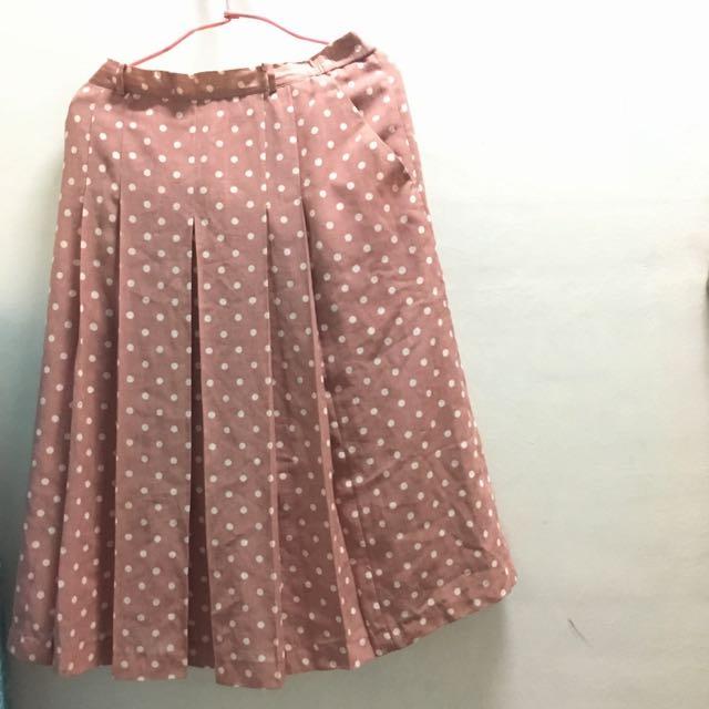 古著粉色點點長裙
