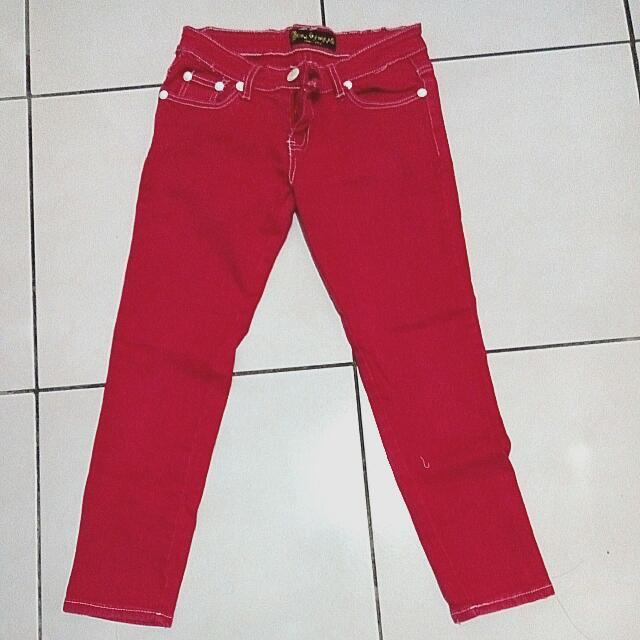 桃紅牛仔長褲
