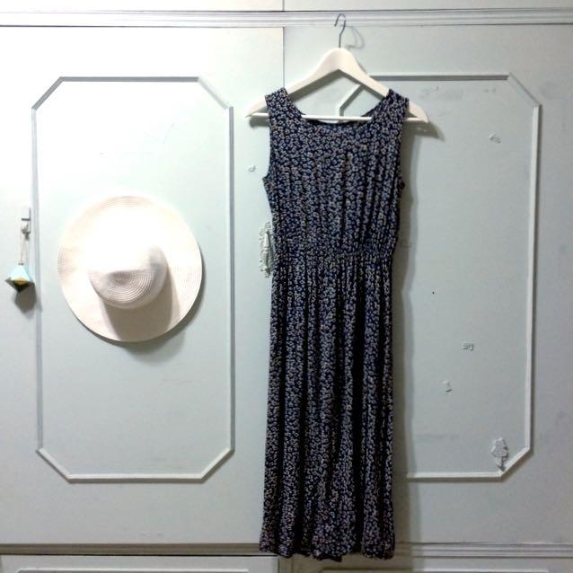 夏日碎花長洋裝-藍色