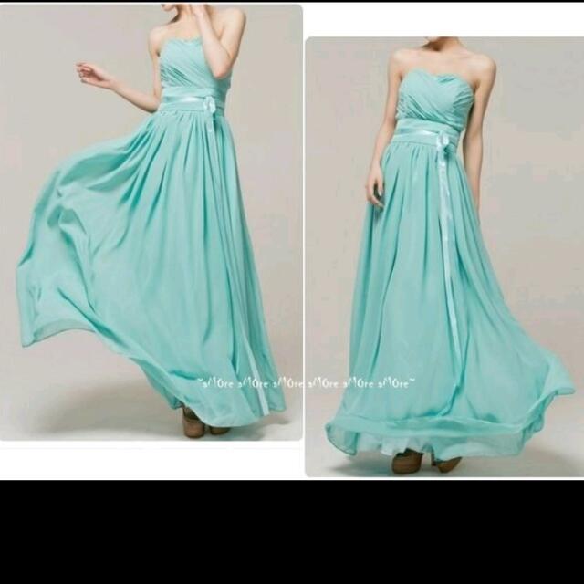 湖水綠 長洋裝 禮服 伴娘服