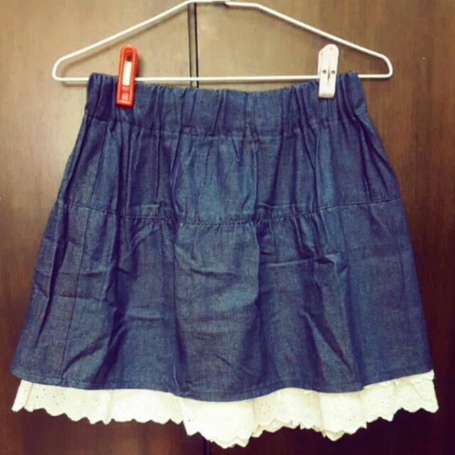 【二手】女 牛仔軟布 鬆緊 短裙