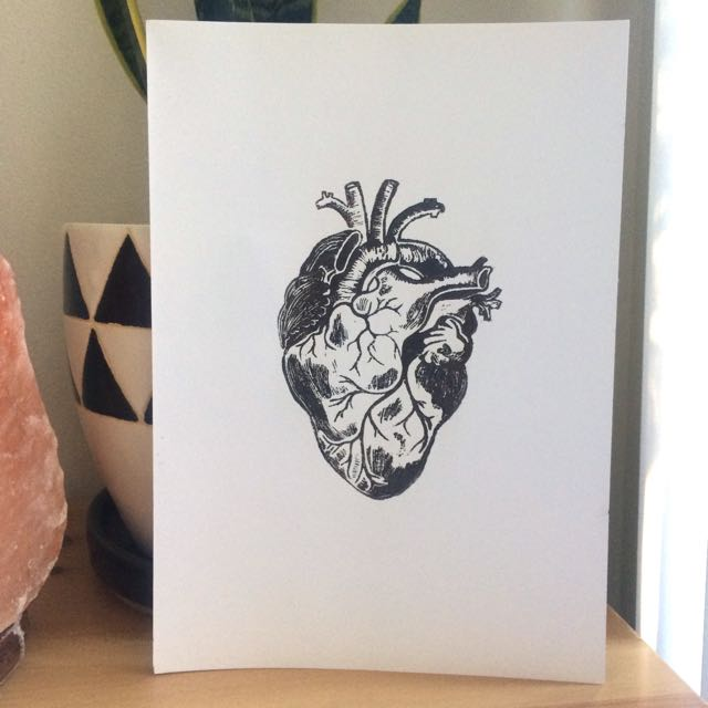 Anatomical Heart Lino Print