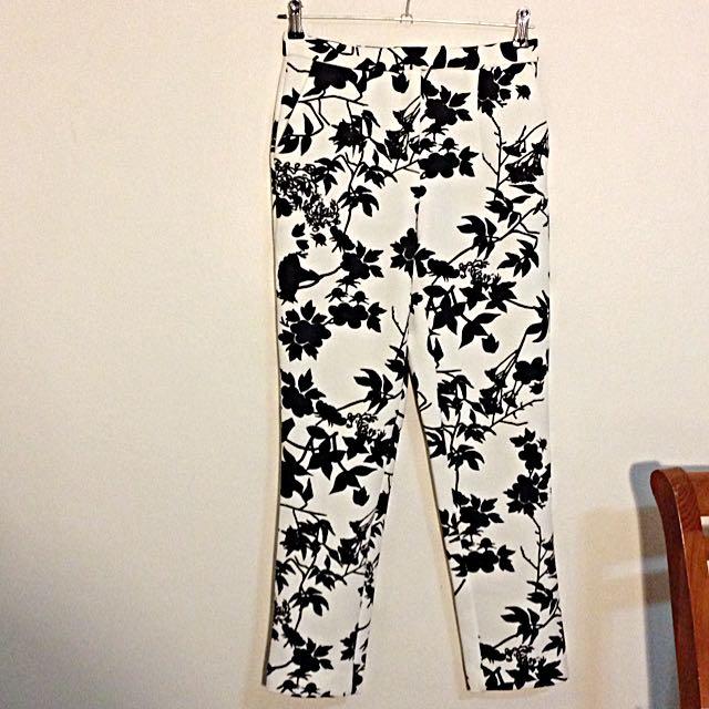 ASOS Cigarette Pants in Mono Floral Scuba
