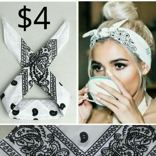 Black and white bandana headband piece