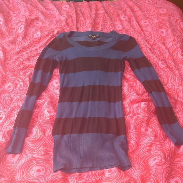 Blue & Black Stripes Long Sleeve
