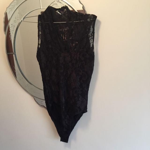 Black Lacy Bodysuit  - Asos Size 10 Worn Once