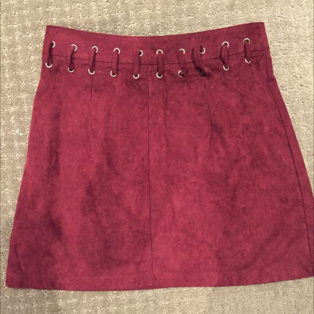 Burgundy Suede skirt - size 10