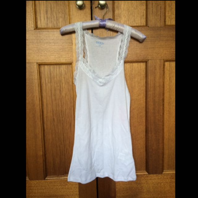 Cotton On Lace Tank WHITE