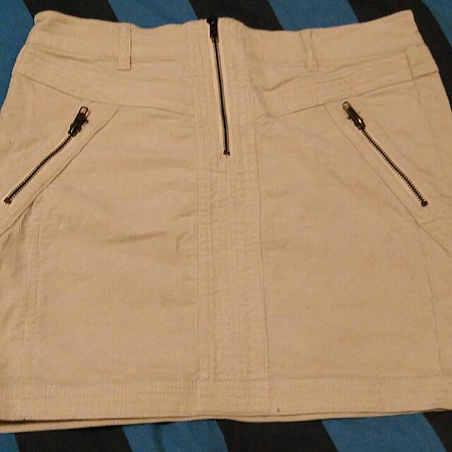 Creme Coloured Cord Style Middy Skirt