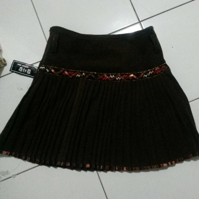 Dark Brown Flare Mini Skirt