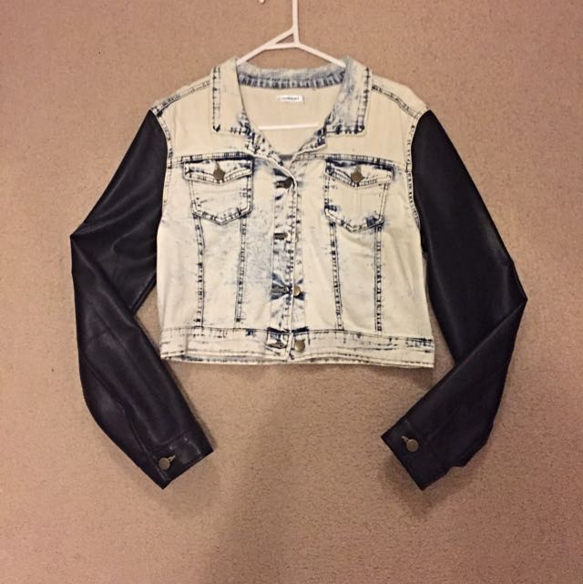 Denim Leather Crop Jacket