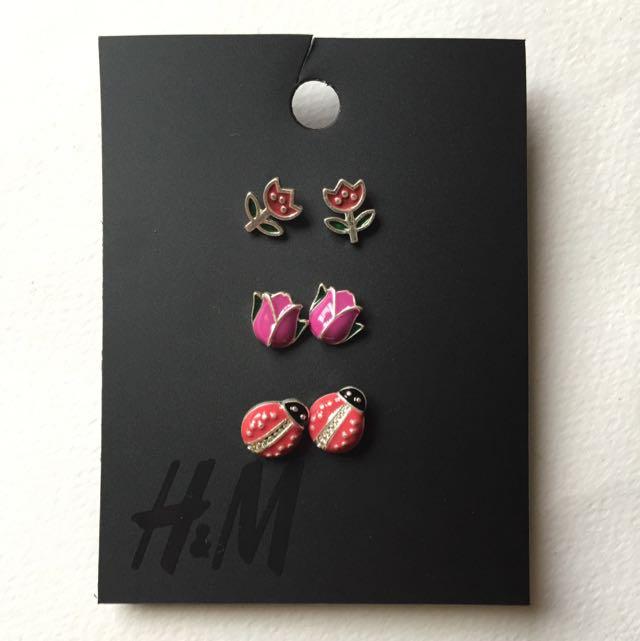 H&M 花朵 瓢蟲耳針 耳環