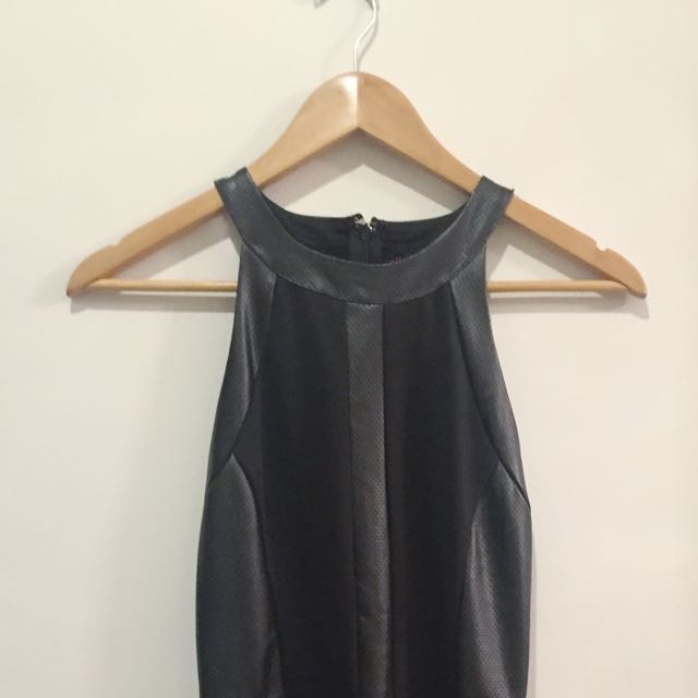 Leather black skater dress
