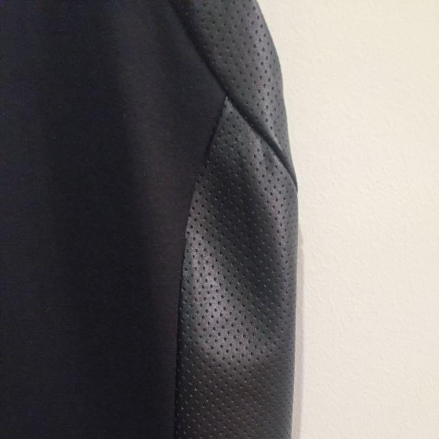 Leather black skater dress