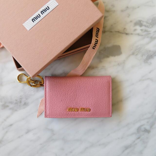 Miu Miu Madras Leather Card Case in 'Rosa'