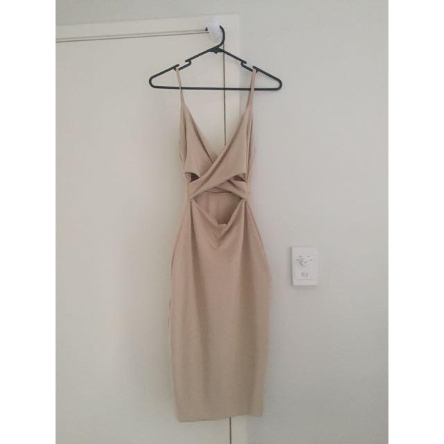 Nude Midi Dress Size 8