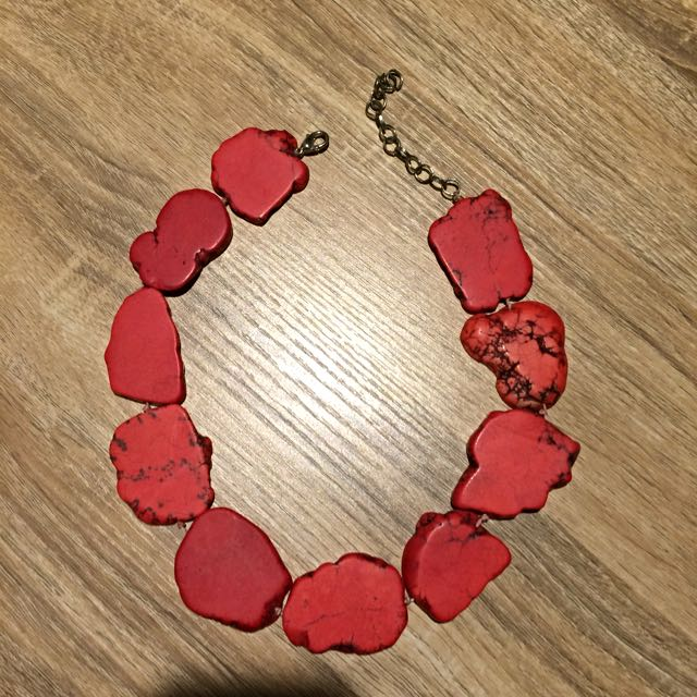 Red Flat Stone Necklace