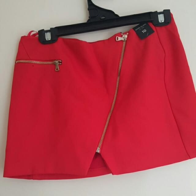 River Island Red Zip Front Mini Skirt