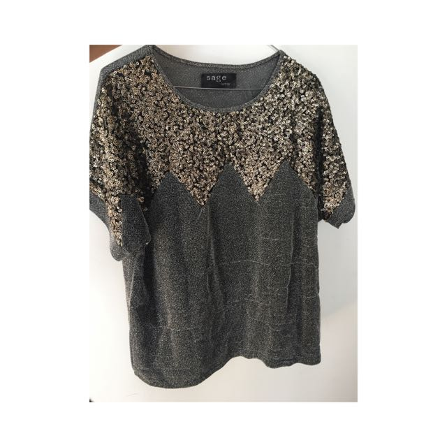 Sage Brand. Silver And Gold Sequinned T-shirt