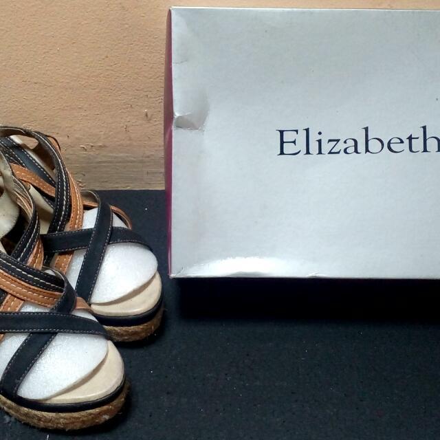 REPRICE!! Sepatu Wedges Black Brown Elizabeth
