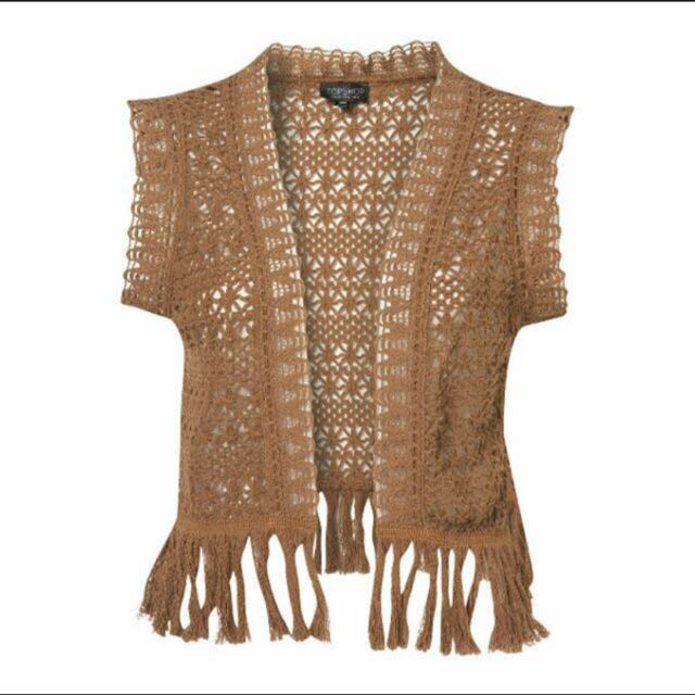 Topshop Crochet Camel Fringed Vest Womens Fashion On Carousell