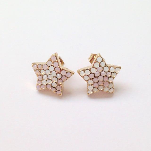 White & Pink Bejewelled Star Earrings