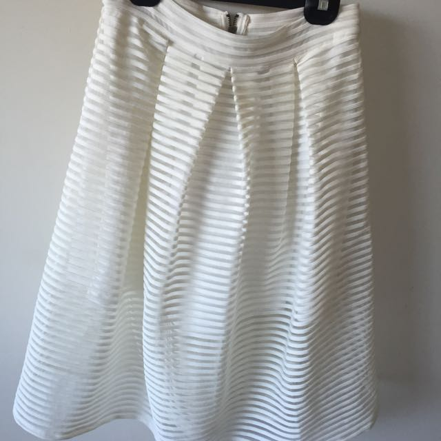 White Striped Midi Skirt