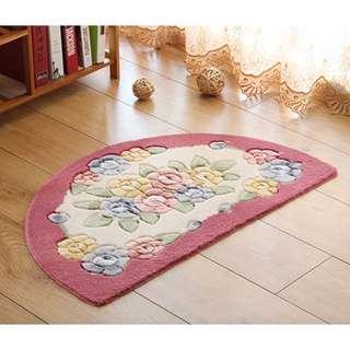 玫瑰田園鄉村半圓型地毯