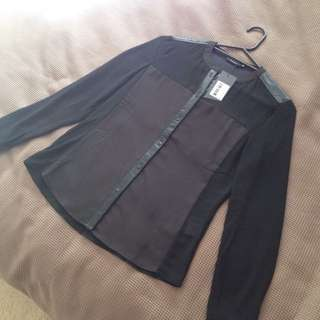 Black Shirt With PU Leather Looking Panels Size S/8