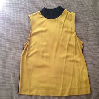 Gold/Mustard High Neck Sleeveless Top XS/S To Fit Size 8