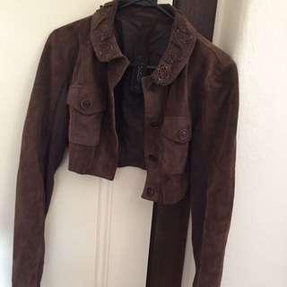 Crop Brown Leather Jacket