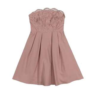 BNIP Pink Strapless Lace Bustier Dress