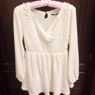 全新日本Ingni米白雪紡拼接柔軟珍珠小洋裝
