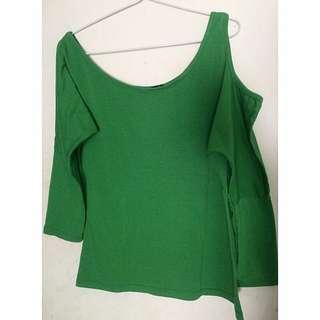 Green Shirt Half Open Shoulder
