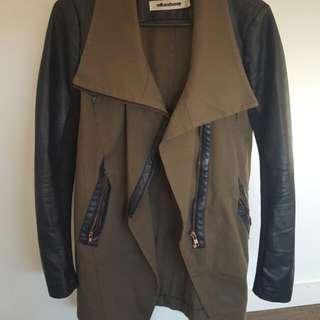Milk And Honey Jacket Khaki And Leather Size 6