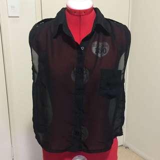 Plain Black Chiffon Shirt
