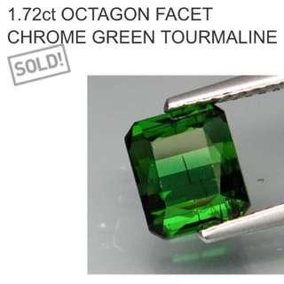 1.72 Ct Octagon Facet Green Tourmaline