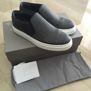 Alexander McQueen Black Studded Slip On Sneakers Shoes 41