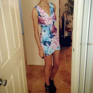 Pink And Blue Flower Patterned Dress