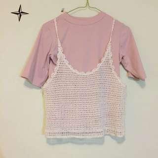 韓版 兩件式 針織外罩衫