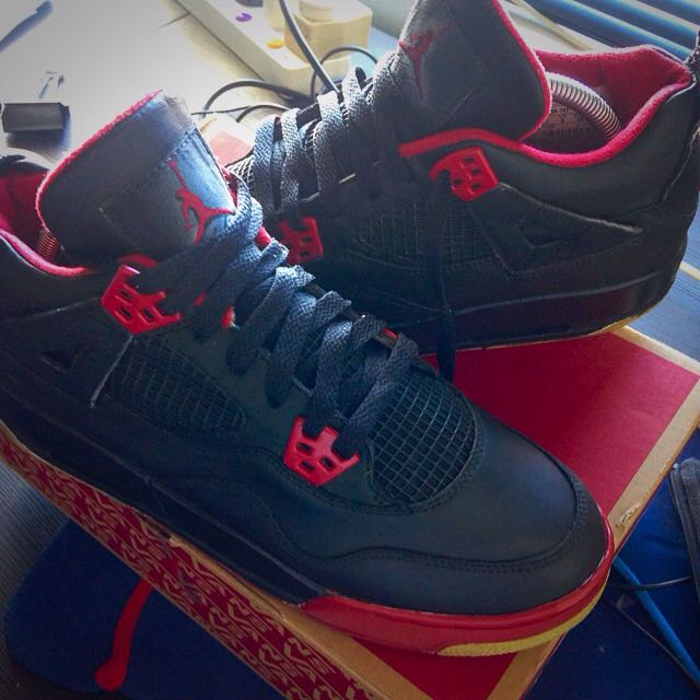 "2006 Nike Air Jordan IV 4 ""Reverse Fire Red"" Custom Size 7"