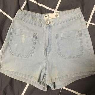 Light-wash High waisted Denim Shorts