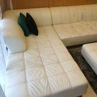 White Leather Sofa Lounge With Chaise
