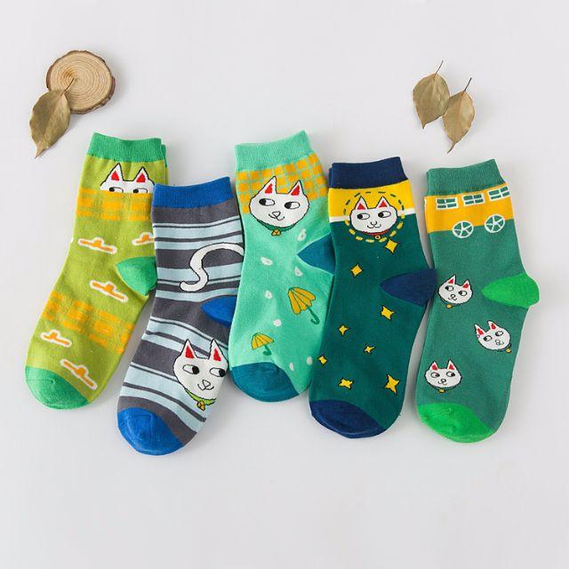 [買4送1]✨喵喵系✨韓版女孩兒甜心糖果襪品 長襪 女襪 船襪 中筒襪 襪子 🎀