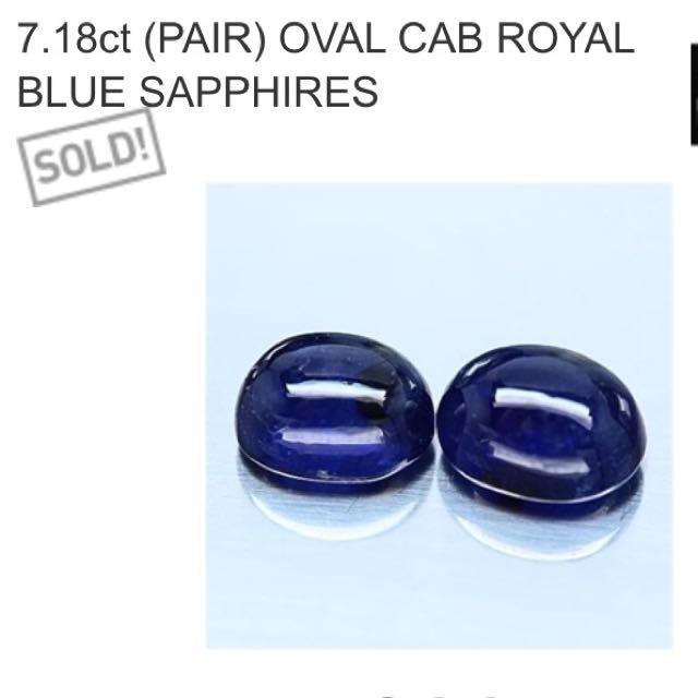 7.18 ct Cab Royal Blue Sapphires Pair